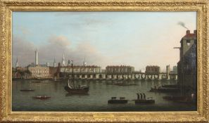 """Joseph Nicholls (fl 1726-1755) """"The City of London from the south bank"""" oil on canvas, 61 x 112cm"""