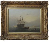 """Nicholas Condy (1793-1857) """"Man of War at anchor"""" oil on panel, signed lower right, 29 x 39cm"""