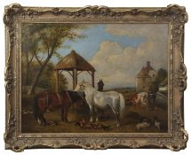 Attributed to John Frederick Herring (1795-1865) Farmstead with horses, pigs and cattle etc oil on