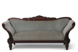 William IV mahogany three piece suite comprising a pair of armchairs with carved and shaped