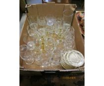 BOX OF VARIOUS DRINKING GLASSES AND COASTERS
