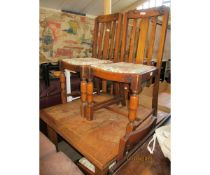 OAK DRAW LEAF DINING TABLE AND FOUR DINING CHAIRS
