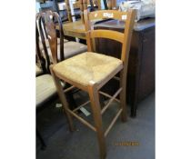 BEECHWOOD FRAMED BAR BACK RUSH SEATED STOOL