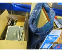 TWO BOXES AND A BAG OF VARIOUS MODERN PICTURE FRAMES ETC