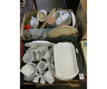 TWO BOXES CONTAINING KITCHEN WARES, CHINA ETC