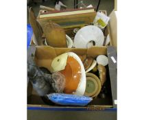 TWO BOXES CONTAINING A SPELTER FIGURE, MOULDING PLANE, POTTERY, METAL WARE ETC