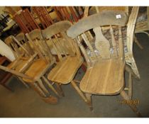 BEECHWOOD SET OF SIX HARD SEATED KITCHEN CHAIRS