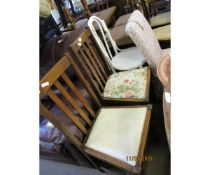 PAIR OF OAK RAIL BACK DINING CHAIRS
