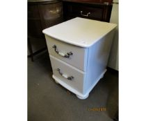 MODERN WHITE TWO DRAWER BEDSIDE CABINET