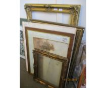 LARGE GILDED PICTURE FRAME, VARIOUS OTHER FRAMES, PICTURES ETC