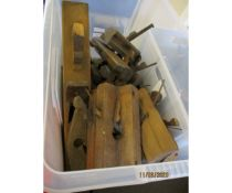 BOX OF VARIOUS MOULDING PLANES ETC