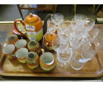 TRAY CONTAINING ETCHED GLASS WARES, JAPANESE TEA WARES ETC