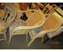 PAIR OF MODERN BASKET WORK CHAIRS