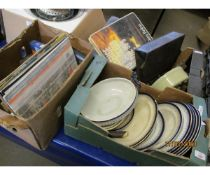 THREE BOXES OF BLUE AND WHITE CHINA, SPELTER FIGURE, 78S ETC
