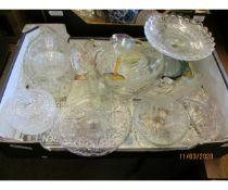 BOX OF VARIOUS GLASS TAZZAS ETC