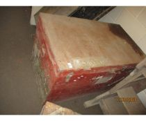 LARGE RED PAINTED TRUNK