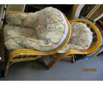 PAIR OF MODERN CANE WORK CONSERVATORY CHAIRS