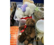 TWO BOXES OF ASSORTED SOFT TOYS, TEDDY BEARS ETC