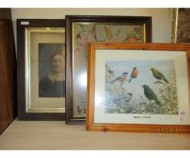 GROUP OF EMBROIDERED PICTURES, PORTRAIT PRINT ETC