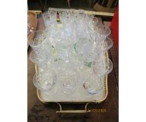 TRAY OF VARIOUS DRINKING GLASSES