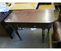 19TH CENTURY MAHOGANY FOLD OVER TEA TABLE WITH SINGLE DRAWER WITH TURNED KNOB HANDLES RAISED ON RING