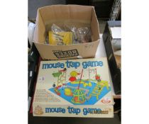 GAME OF MOUSETRAP, AND A FURTHER BOX CONTAINING MIXED GAMES ETC