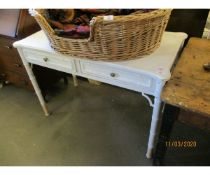 WHITE PAINTED BAMBOO STYLISED TWO DRAWER SIDE CABINET