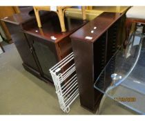 REPRODUCTION GLAZED FRONTED CUPBOARD, FOLDING DRIER AND DVD RACK