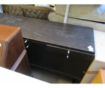 MODERN BLACK EBONISED SIDEBOARD WITH THREE DRAWERS OVER CUPBOARD DOORS