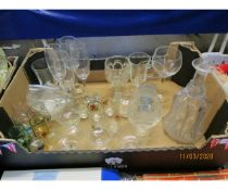 BOX OF VARIOUS DRINKING GLASSES, DECANTER ETC