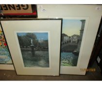 TWO PENCIL SIGNED LITHOGRAPHS OF LUXEMBOURG GARDENS AT DUSK AND RIALTO BRIDGE