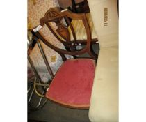 EDWARDIAN MAHOGANY AND SATINWOOD INLAID SHIELD BACK BEDROOM CHAIR WITH RED UPHOLSTERED SEAT