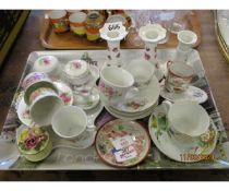 TRAY OF DRESSING TABLE SET, VARIOUS CUPS AND SAUCERS