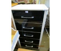 BEECHWOOD EFFECT AND BLACK GLOSS FRONTED FIVE DRAWER PILLAR CHEST WITH CHROMIUM HANDLES