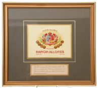 Pre-war Ramon Allanes Havana cigar box label, framed and glazed