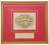Pre-war H Upmann Havana cigar box, framed and glazed