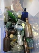 BOX CONTAINING GLASS BOTTLES, INK BOTTLES ETC