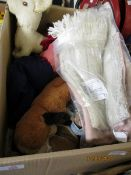 BOX CONTAINING SOFT TOYS, SCARVES ETC
