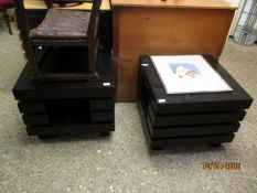 PAIR OF BLACK TUBE FORMED SEGMENTED SIDE TABLES OR COFFEE TABLES