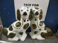 PAIR OF STAFFORDSHIRE DOGS WITH LUSTRE GLAZED SPOTS