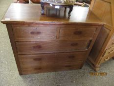 19TH CENTURY MAHOGANY AND CROSS BANDED TWO OVER TWO FULL WIDTH DRAWER CHEST (LACKING HANDLES)