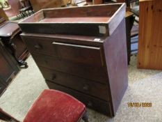 VICTORIAN MAHOGANY TWO OVER THREE FULL WIDTH DRAWER CHEST (FOR RESTORATION)