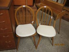 PAIR OF BEECHWOOD HARD SEATED STICK BACK KITCHEN CHAIRS