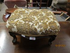GOOD QUALITY SQUAT STOOL WITH CABRIOLE LEGS AND UPHOLSTERED TOP