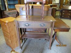 ARTS & CRAFTS OAK SINGLE DRAWER SIDE CUPBOARD WITH COPPERED HANDLES WITH OPEN SHELF ON TAPERING