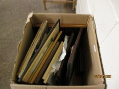 BOX CONTAINING MIXED PICTURES, PRINTS, PICTURE FRAMES ETC