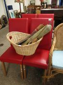 SET OF FOUR RED LEATHERETTE L-SHAPED DINING CHAIRS WITH BEECHWOOD LEGS