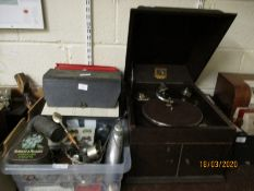 TWO CASES OF MIXED VINYL RECORDS, 78S ETC AND A HIS MASTERS VOICE OAK CASED RECORD PLAYER (3)