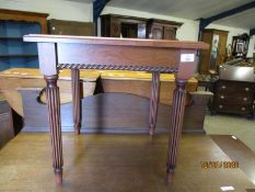 CHERRY WOOD SQUARE FORMED COFFEE TABLE WITH REEDED LEGS