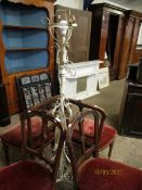VICTORIAN WHITE PAINTED ADJUSTABLE STANDARD LAMP WITH SCROLLING DETAIL